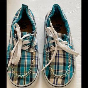 Dawg Turquoise Plaid Kayman Shoes Sz 9
